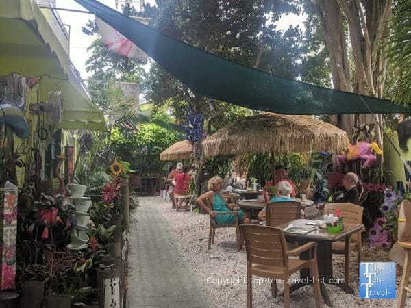Tropical patio at Sweet Sage's Cafe in North Redington Beach, Florida