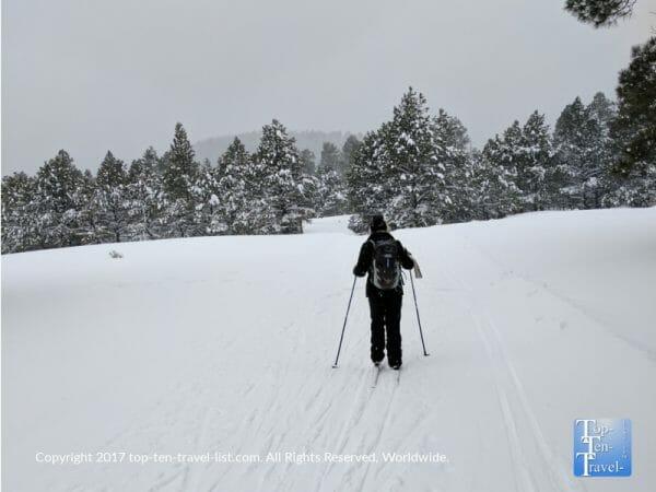 Cross country skiing at the Arizona Nordic Village in Flagstaff, Arizona