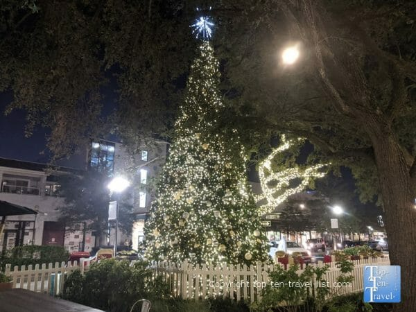 Pretty Christmas tree at Hyde Park Village in Tampa, Florida