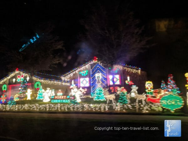 Christmas lights drive through at Indian Trails HOA subdivision in Palm Harbor, Florida