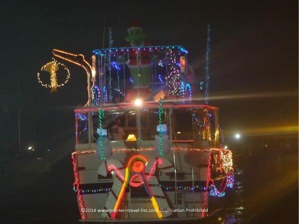 Holiday boat parade in Tampa Bay, Florida