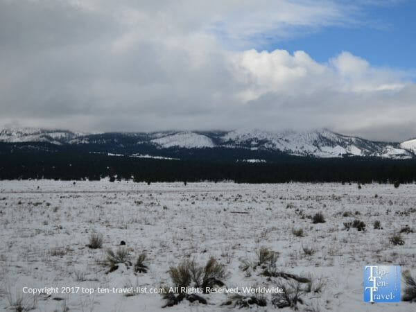 The beautiful San Francisco Peaks seen on a winter drive along the Wupatki Sunset Crater scenic drive in Northern Arizona