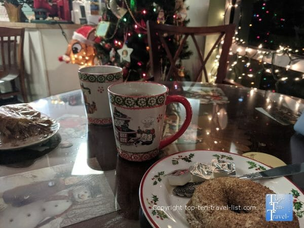 Christmas decor at Sips Specialty Coffee House in Tampa, Florida