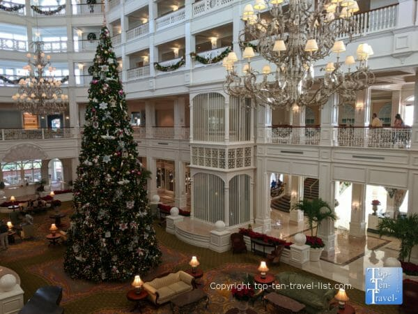 The beautiful Grand Floridian lobby at Christmas