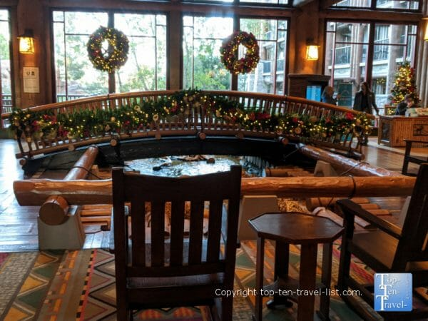 Festive Christmas decor at Disney's Wilderness Lodge