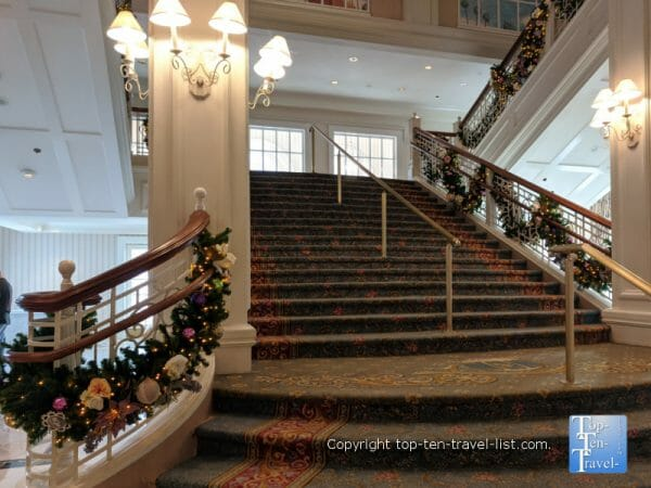 Festive holiday decorations at Disney's Grand Floridian resort