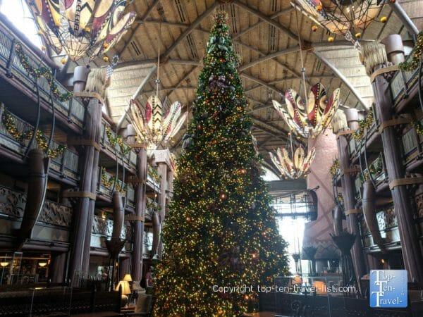 The beautiful Christmas tree at Disney's Animal Kingdom Lodge