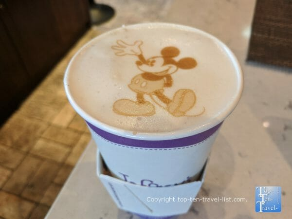 Disney latte art at Joffrey's at Disney Springs in Orlando, Florida
