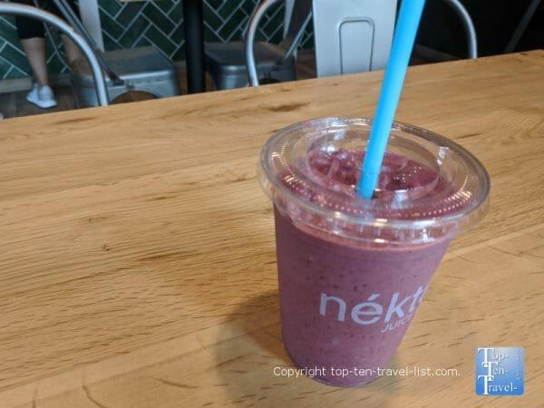 Elderberry smoothie at Nekter Juice Bar in Trinity, Florida