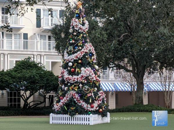 Festive Christmas tree at Disney's Boardwalk Inn
