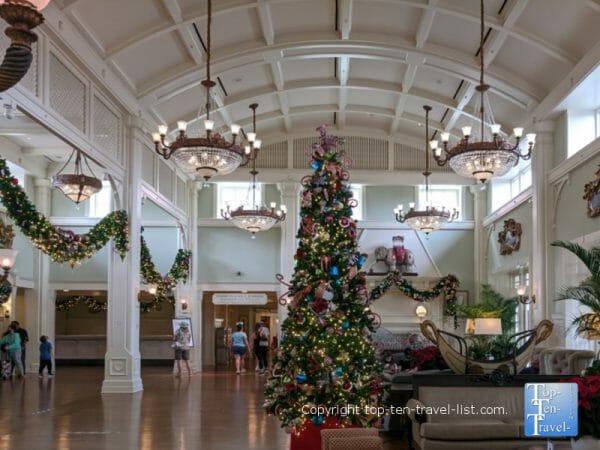 Festive holiday decor at Disney's Boardwalk Inn