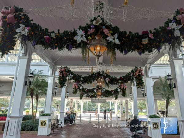 Festive holiday garland at Disney's Grand Floridian resort