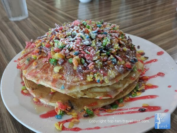 Fruity pebble pancakes at @the Diner in Orlando, Florida