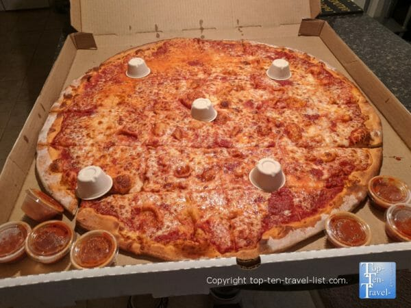 28 inch cheese pizza at Eddie and Sam's in downtown Tampa, Florida