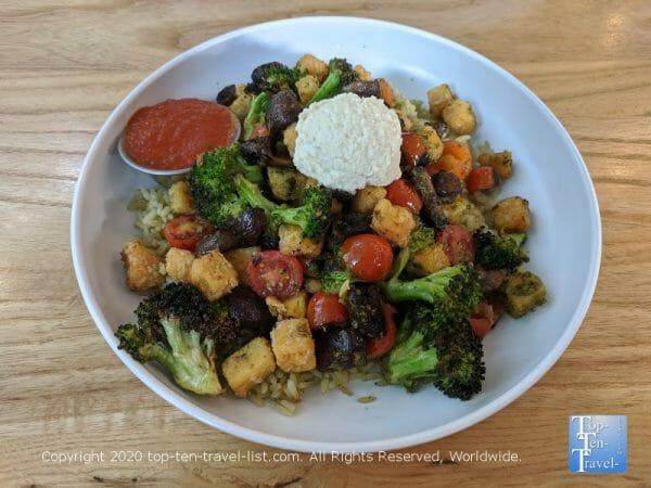 Big Italy bowl with lentil bites at Cali in New Tampa, Florida