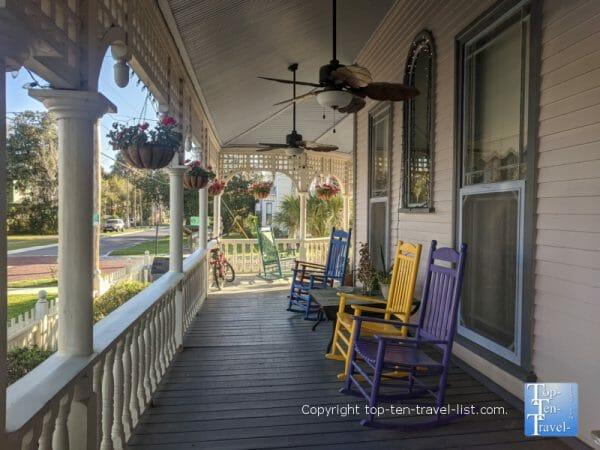Cozy porch at the Grand Gables Inn in Palatka, Florida