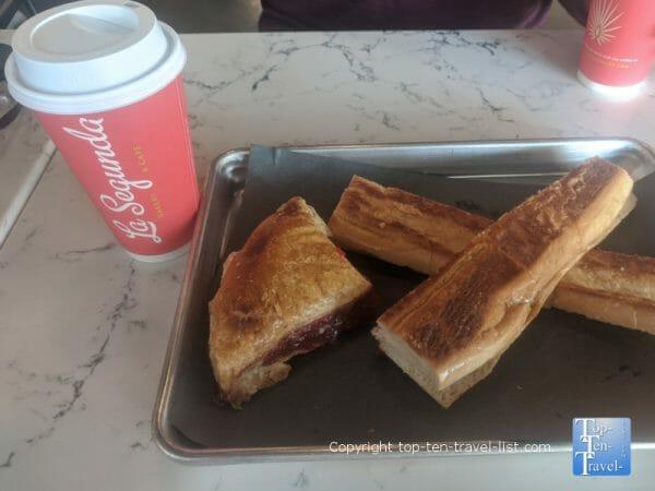 House coffee, Cuban toast, and a guava turnover at Le Segunda Cafe in Tampa, Florida