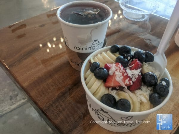 Drip coffee and acai bowl at Raining Berries in Lutz, Florida