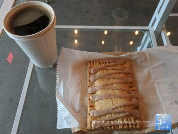 Gluten-free poptart and Americano at Buttermilk Provisions coffee shop in Wesley Chapel, Florida