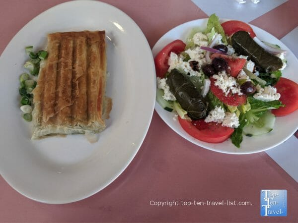Greek plate at Gaufres and Goodes in St. Augustine, Florida