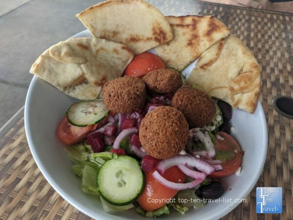 Greek salad with pita and falafel at The Hungry Greek in Wesley Chapel, Florida