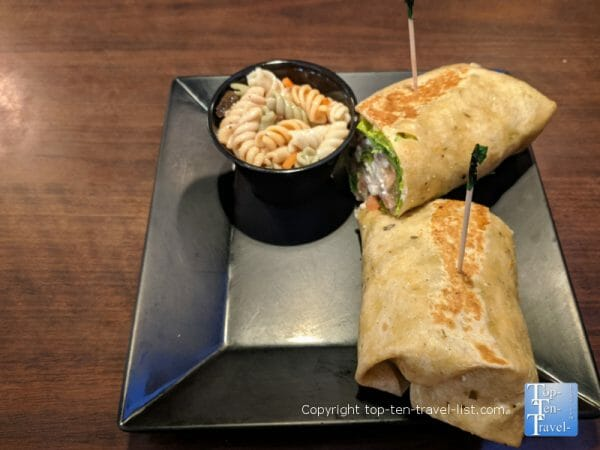 Greek salad wrap at Rendezvous in historic St. Augustine, Florida
