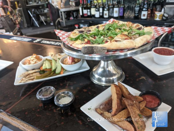 Hippy pizza and hummus appetizer at Ella's American Folk Art Cafe in Tampa, Florida