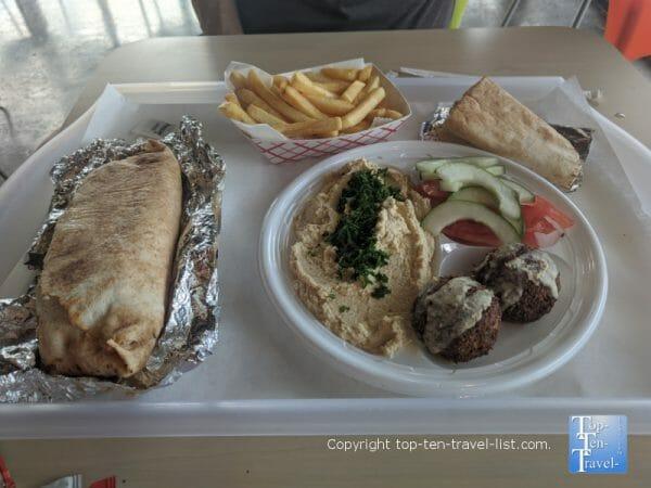 Hummus and falafel plate at Are Pitas in Tampa, Florida