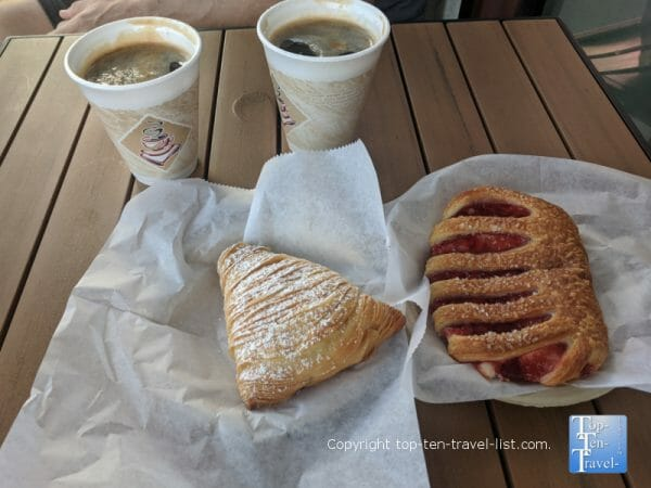 Americano and pastries at Las Casas del Pane in St. Pete Beach, Florida