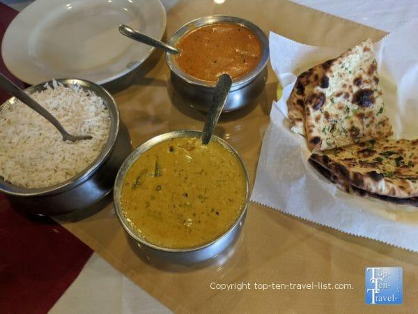Paneer Butter Masala and Veggie Korma at Athihi Indian restaurant in Tampa, Florida