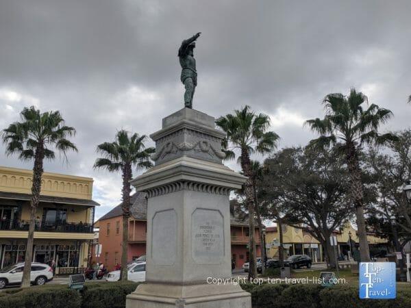 Ponce de Leon statue in historic St. Augustine, Florida