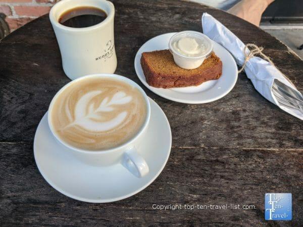 Pumpkin spice latte, Americano, and pumpkin bread at Buddy Brew at Hyde Park Village in Tampa, Florida