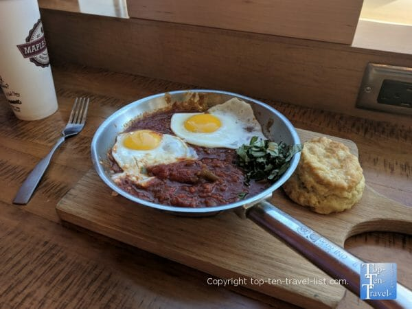 Sunshine in the Garden dish with a homemade biscuit at Maple Street biscuit company
