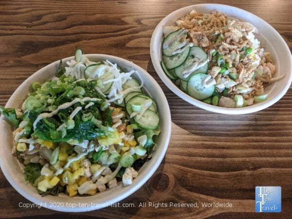 Tofu and Chicken poke bowl at Island Fin in Wesley Chapel, Florida