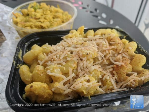 Vegan cashew mac and curry chickpea salad at Farmacy Vegan Kitchen in Tampa, Florida