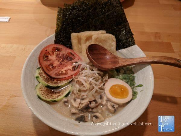 Vegetable ramen bowl at Michi Ramen in Tampa, Florida
