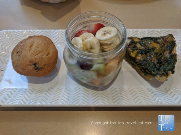 Veggie quiche, muffin, and fresh fruit at Samaria Cafe in downtown Tampa, FL