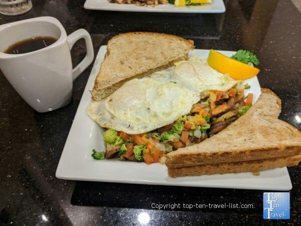 Veggie scrambler and house coffee at Keke's restaurant