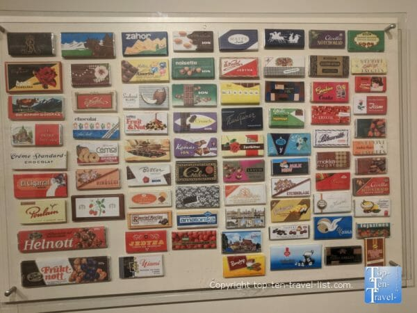 Display of chocolate bars from around the world at the World of Chocolate in Orlando, Florida