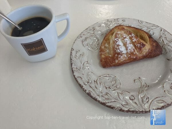 Lemon tart and Americano at Cafe Soleil in St. Pete Beach, Florida