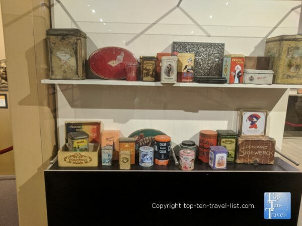 Old cocoa products at the World of Chocolate in Orlando, Florida