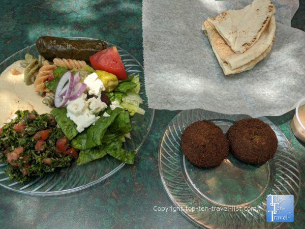 Salad sampler and falafel at Bread and Butter Deli in Tarpon Springs, Florida