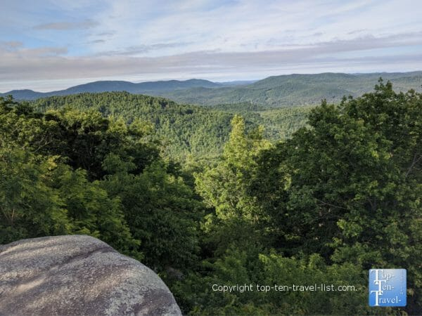 Gorgeous views of the Blue Ridge Mountains at Jump Off Rock Park in Western North Carolina