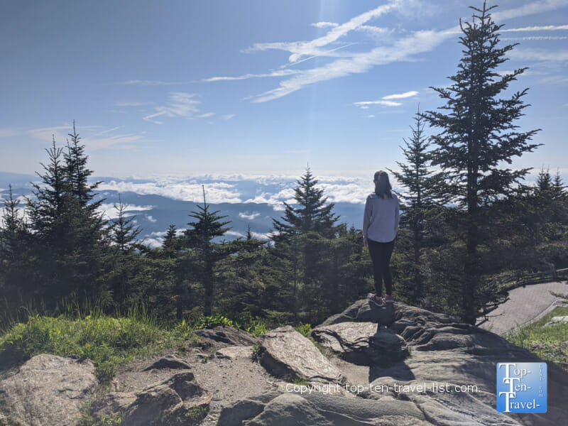 Enjoying the mountain scenery at Mt. Mitchell State Park in Western North Carolina