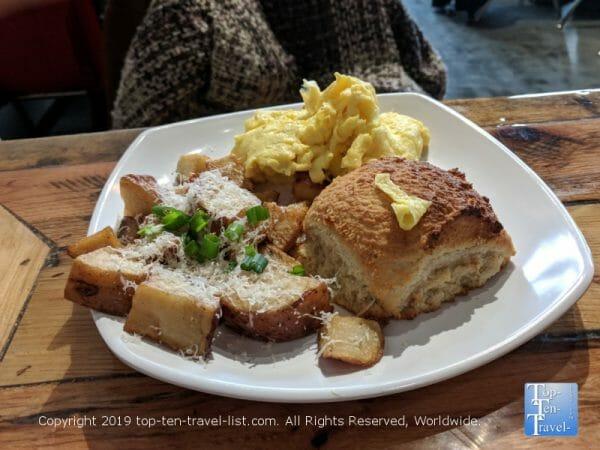 GF vegan half breakfast plate at Biscuit Head in Arden, NC