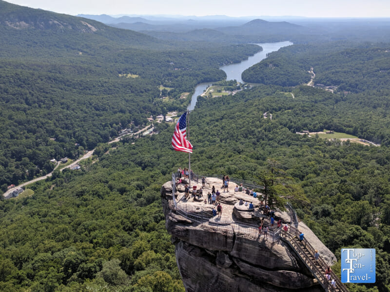 Gorgeous views of the Blue Ridge mountains at Chimney Rock State Park in Western North Carolina