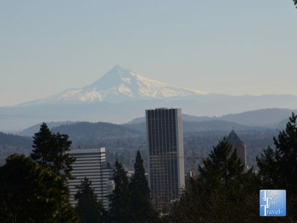 Gorgeous views of Mt Hood from the Portland Japanese Garden