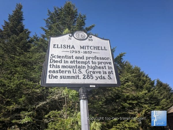 History plaque at Mt. Mitchell State Park in Western North Carolina