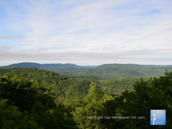 Picturesque mountain vista at Jump Off Rock in Hendersonville, North Carolina