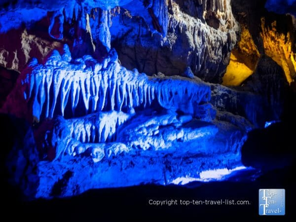 Stalactites along the Ruby Falls cave tour in Chattanooga, TN